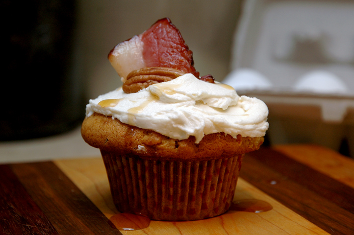 Bacon and Maple Syrup Cupcake with Maple Icing