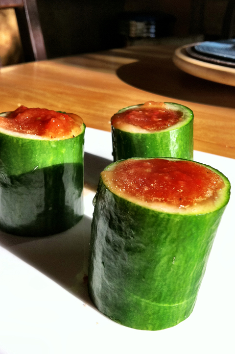 "Be creative with your presentation, make a simple cucumber cup. Cut a whole cucumber in 4"" chunks and using a ridged grapefruit spoon, hollow-out bowls, spoon gazpacho in and serve.  Perfect for entertaining."