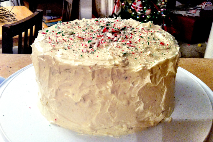 Don't worry about bringing another dessert to remind you how different you, and your taste buds, are to your family.  The Candy Cane Cake offers 3 laters of moist chocolate cake wrapped in white chocolate buttercream and sprinkles of crushed candy cane throughout.  Something to everyone to enjoy.