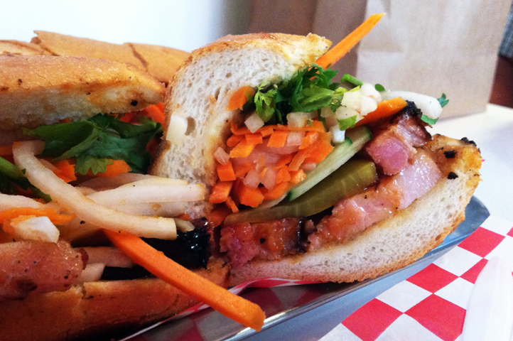 Banh Mi Boys' Five Spice Pork Belly Banh Mi, this is an excellent sandwich. I would like to officially register my vote that pork belly be the next big trendy meat item on menus and Food Network shows. Juicy, succulent, perfect.