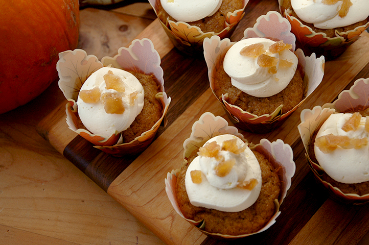 Spiced Pumpkin Cupcake with Honey Ginger Buttercream Frosting