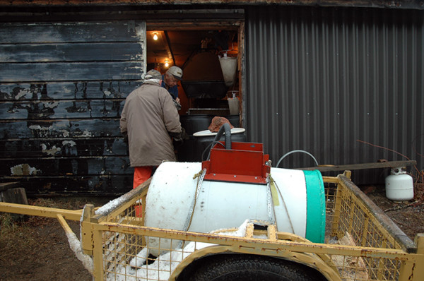 Using a submersible pump, we move the collected sap from the trailer vat and into a 48-gallon jug waiting at the entrance of the sugar shack.