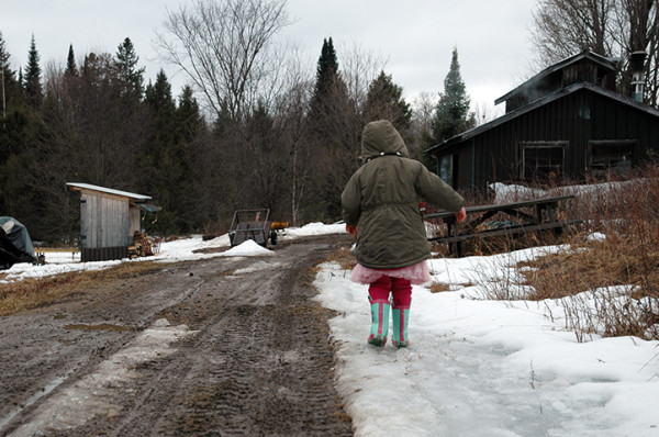 "Proudly sporting her ""bush tutu"", Alice guides us back to the sugar shack with all of our collected sap."
