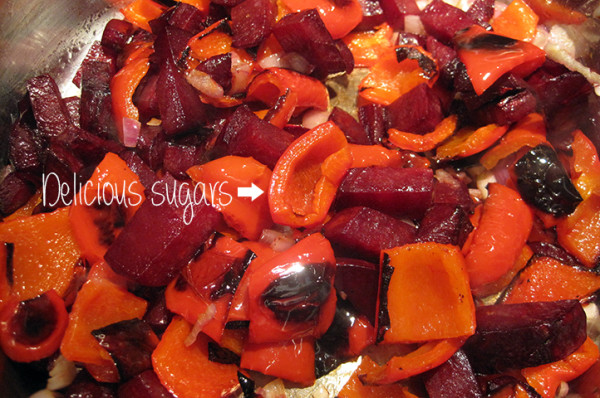 Roasting the veg releases natural sugars to create a richer flavour with more (sweet) dimensions.