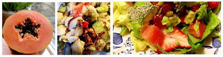 Left to right: Papaya, gluten free pasta salad, strawberry-grapefruit-mixed greens-avocado-everything salad.