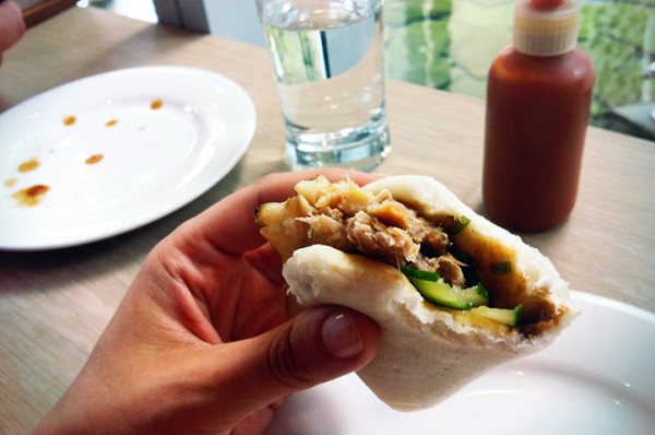 The succulent slow cooked pork belly, wrapped into a soft blanket of steamed Wonder Bread, with added crunch and sour from pickled cucumber. The PERFECT snack.