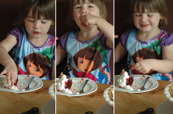 Alice learns the benefits of my forgetting to pick up milk and cereal the night before. Pie for breakfast!