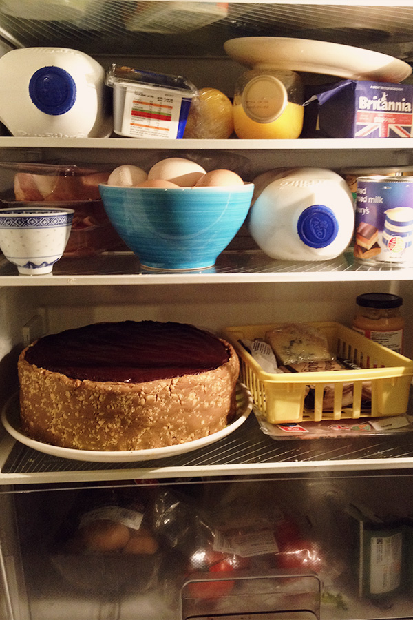 Storing the cake in your fridge can be a little bit of a challenge, as it dominates a large portion of it.