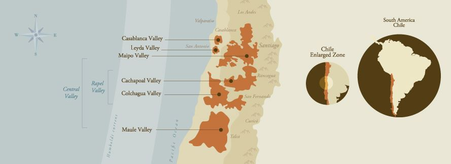 Map of Chile highlighting the country's most lucrative vineyards. Courtesy of santacarolina.cl/en