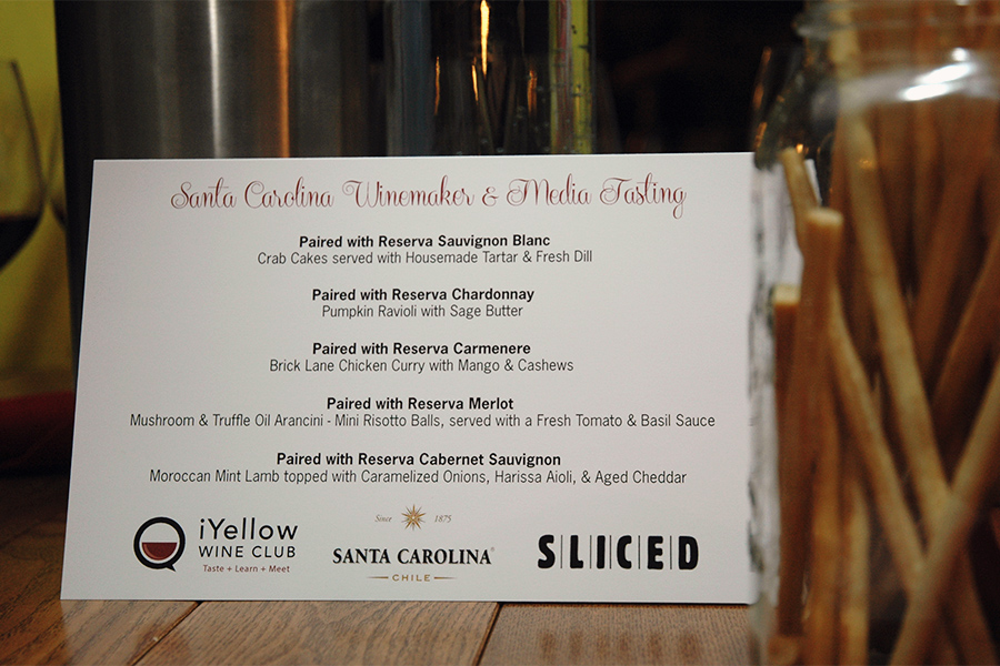The caterers at SLICED Catering paired each of the tasting wines with individual portions of some elegant dishes.
